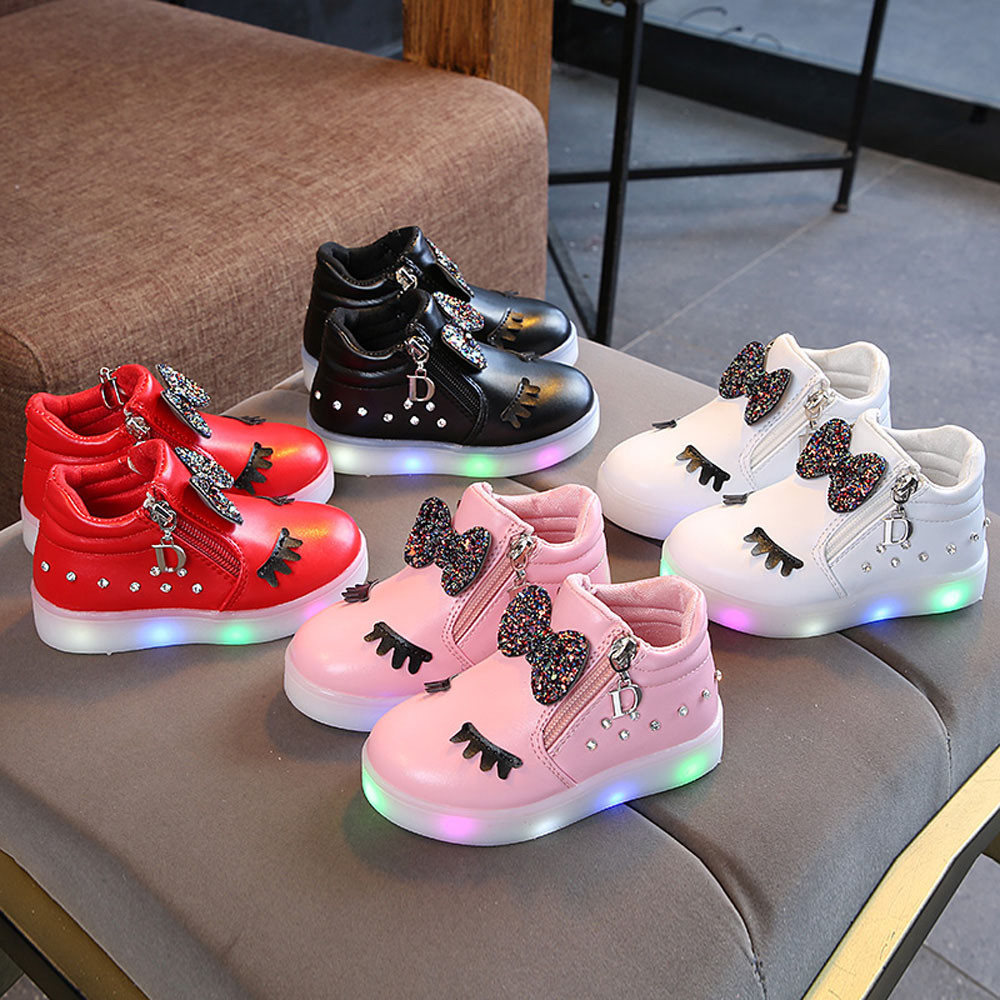 Light Up Winter Kids Baby Infant Girls Crystal Bowknot LED Luminous Boots Sport Shoes Sneakers Zipper Bow Running Sport Shoes