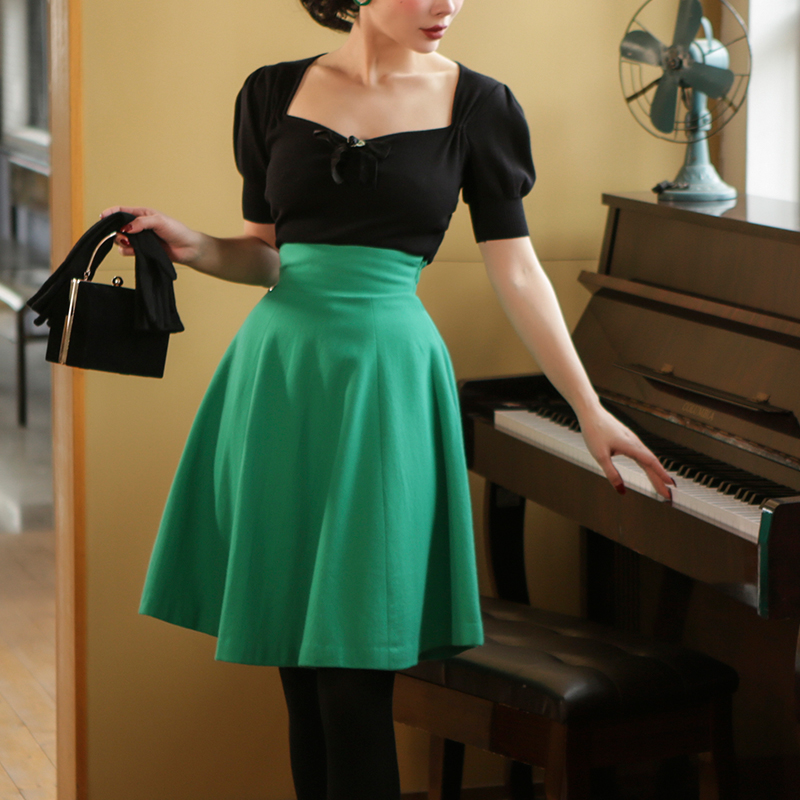 Le Palais Vintage 2019 Original Vintage Cashmere Green High Waist Skirt Knee-Length Winter Thickness Skirts Womens