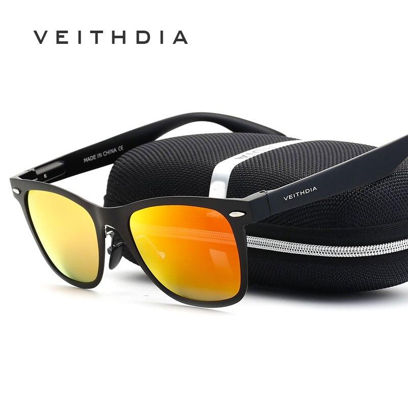 VEITHDIA V2140 Unisex Square Men's Polarized Sunglasses Mirror Lens Sun Glasses Women Fashion Glasses for Driving Eyewears