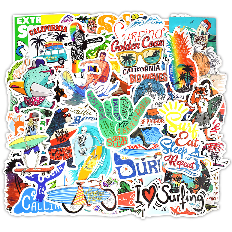 50 PCS Summer Surfing Sticker Beach Travel Graffiti Surf Stickers DIY For Surfboard Laptop Luggage Bicycle Tablet Water Bottle