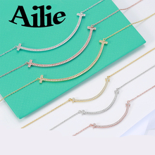 Ailey original high quality 925 sterling silver smiley face necklace classic simple U fashion ladies jewelry couple gifts