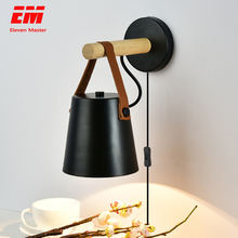 Da parete in legno luci da comodino lampada da parete del riparo della parete moderna applique da parete per la camera da letto Nordic Bianco e Nero testa di sterzo E27 ZBD0016