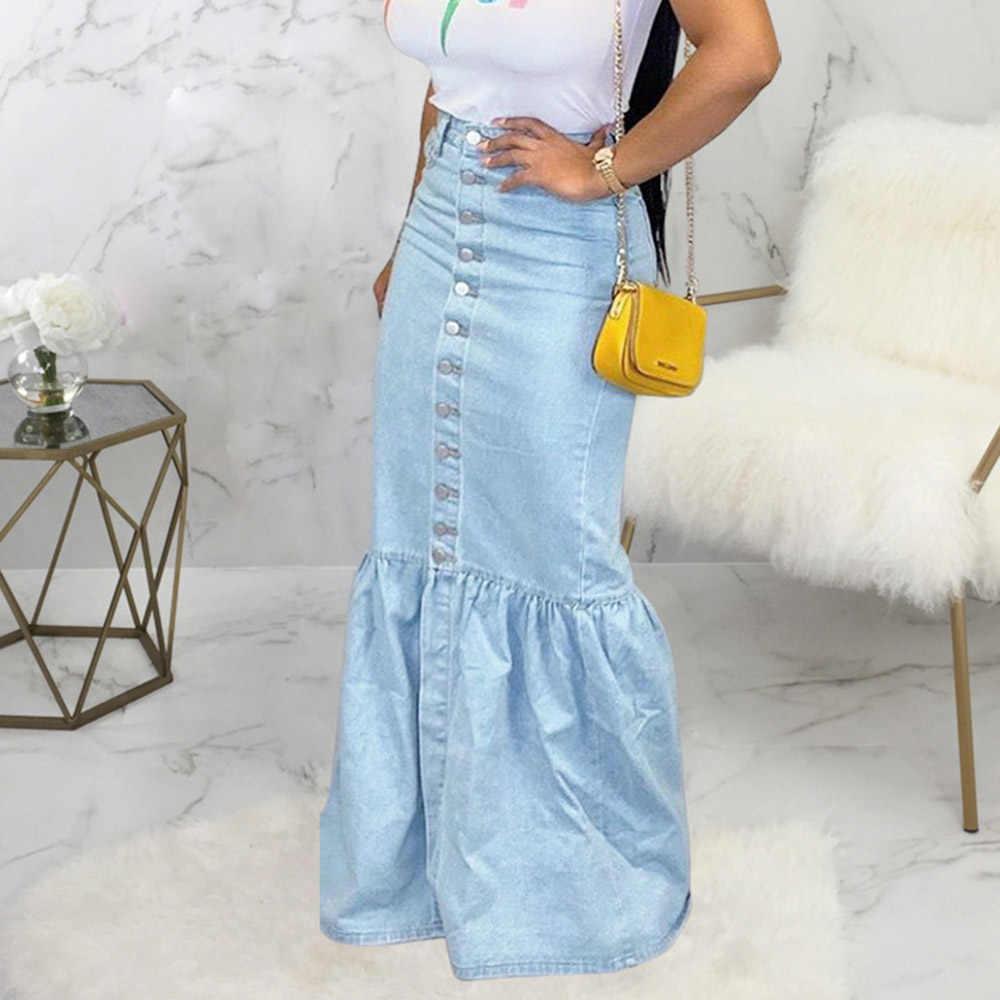Mulheres do vintage de cintura alta saia jeans plus size senhoras botão azul bodycon sereia plissado longo maxi denim saias retro verão