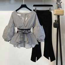 New Striped Blouse Wide Leg Pant Set with Sash Fashion Puff Sleeve + Flare 2 Piece Womens Outfit