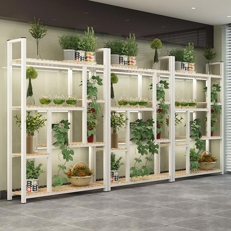 Landing Type Iron Art Flowerpot Shelves Multistorey Living Room Solid Wood Shelf Florist Exhibition Frame