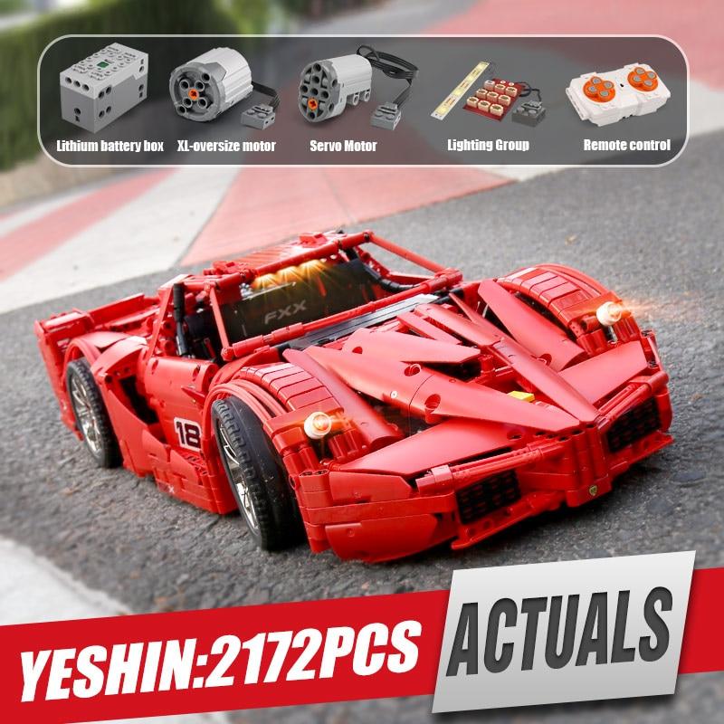 Yeshin 18035 มอเตอร์ฟังก์ชั่นรถ FXX Sport รถแข่งรถความเร็วสูงรถ Technic 1:8 รถเด็กคริสต์มาสของขวัญอาคารบล็อก-ใน บล็อก จาก ของเล่นและงานอดิเรก บน   1