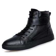 男性の高級ファッション冬の雪のブーツ暖かい毛皮のアンクルブーツ牛革綿の靴フラットプラットフォーム屋外 bota ş masculina マン