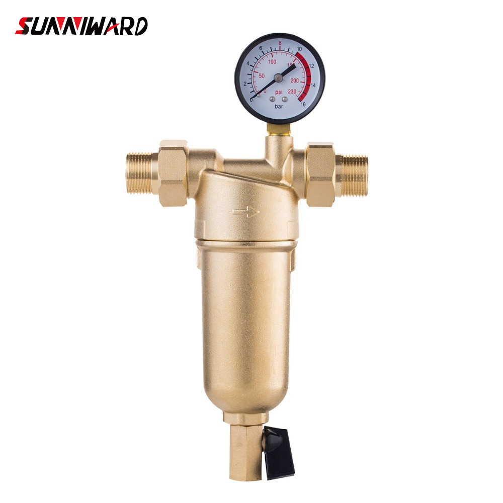 Pre-filter Water Filter Purifier System Pure Brass Body Stainless Steel Mesh Prefiltro With Gauge Free Shipping