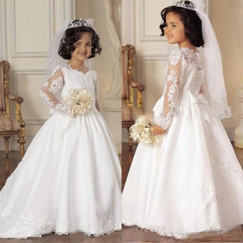 Long Sleeve Flower Girl Dresses A Line V Neck Lace Applique Girls Pageant Dresses For Wedding Party