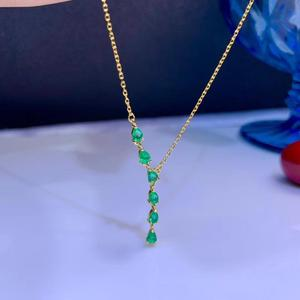 Image 1 - MeiBaPJ Luxurious Natural Emerald Fashion Long Pendant Necklace 925 Pure Silver Fine Wedding Jewelry for Women
