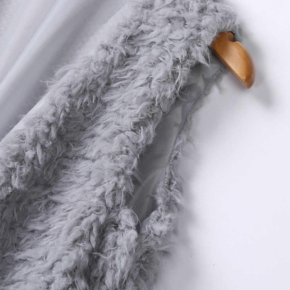 여성을위한 겨울 조끼 플러시 인조 모피 솔리드 캐주얼 민소매 따뜻한 조끼 자켓 따뜻한 캐시미어 카디건 chalecos mujer 2019