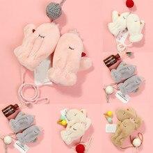 Зимние детские плюшевые теплые варежки из флока, модные милые уличные повседневные плюшевые перчатки с героями мультфильмов, детские перчатки, rekawiczki dzieciec
