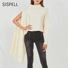 Женский Асимметричный пуловер sispell вязаный свитер с высоким