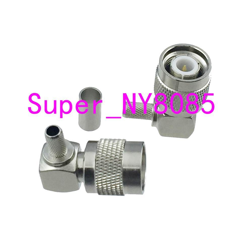Connector TNC Male Plug Crimp RG58 RG142 LMR195 RG400 Cable Right Angle