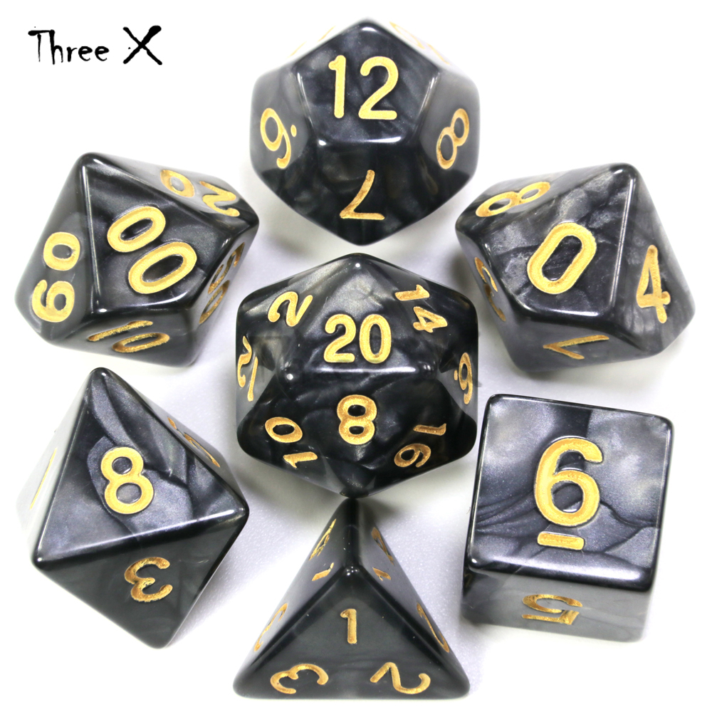 Brand New 7Pcs/Set Polyhedral TRPG Games For Dungeons Dragons Opaque D4-D20 Multi Sides Dice Pop For Game Gaming