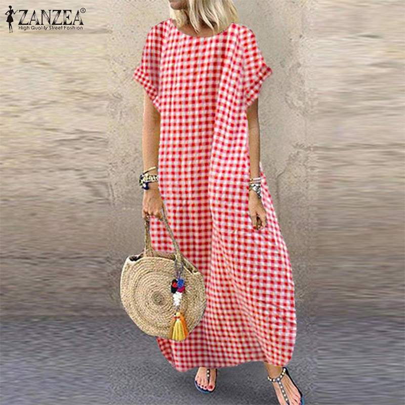 Kaftan Check Dress Women's Summer Sundress ZANZEA 2019 <font><b>Vintage</b></font> Casual Short Sleeve <font><b>Maxi</b></font> <font><b>Vestidos</b></font> Female Plaid Robe Oversized 5XL image