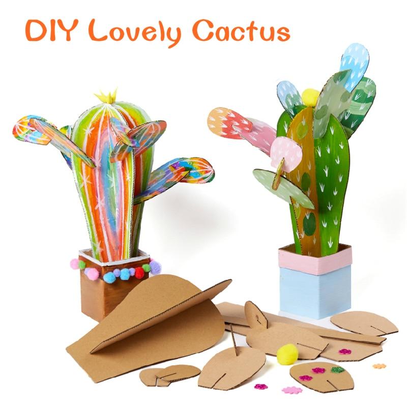 DIY Art And Craft Toys For Children Carton Paper Material Manual Lovely Cactus Frame Kindergarten Educative Girl Boy Toys