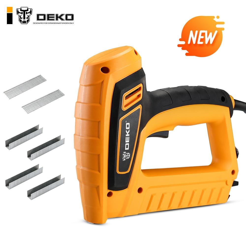 DEKO New DKET01 220V Portable Electric Tacker Gun Electric Nail Gun 20pcs/min Woodworking Tool Electric Nail Gun Stapler Pneumat(China)