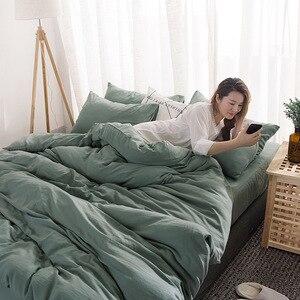 Image 2 - FAMIFUN New Product Solid Color 3/4 Pcs Bedding Set Microfiber Bedclothes Navy Blue Gray Bed Linens Duvet Cover Set Bed Sheet
