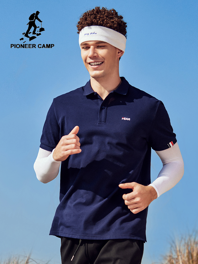 Pioneer Camp 2020 New Polo Shirt Men Sportwear 100%Cotton Blue/White Comfortable Slim Fit Men Polo Shirts ADP0205094