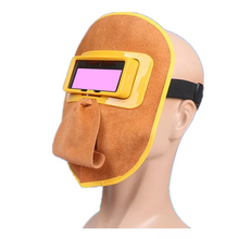 Yellow Welding Mask Solar Auto-Darkening Filter Lens, Headband & Eyeglass Leather Comfortable Welding Helmet for Splash Proof