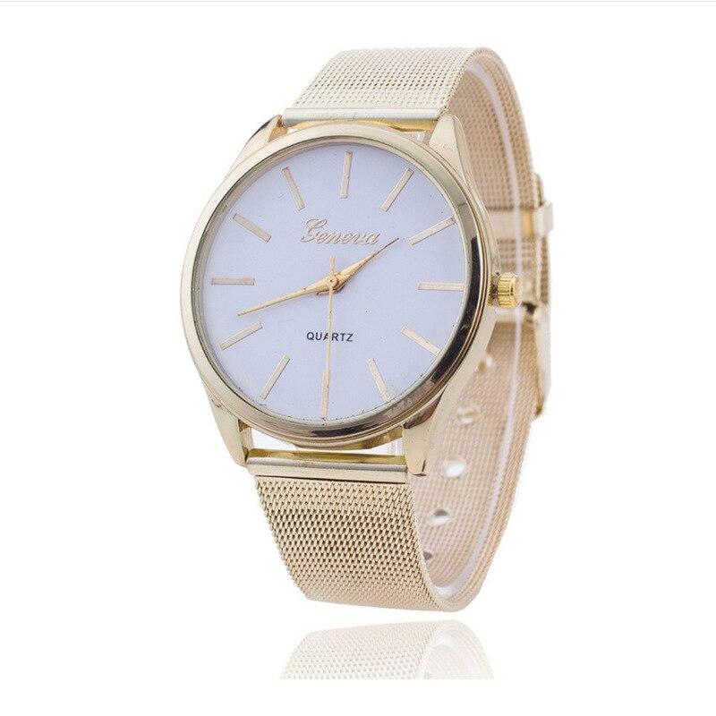 Hot Selling Geneva Gold Mesh Belt Watch Geneva Simple Measuring Unisex Quartz Watch
