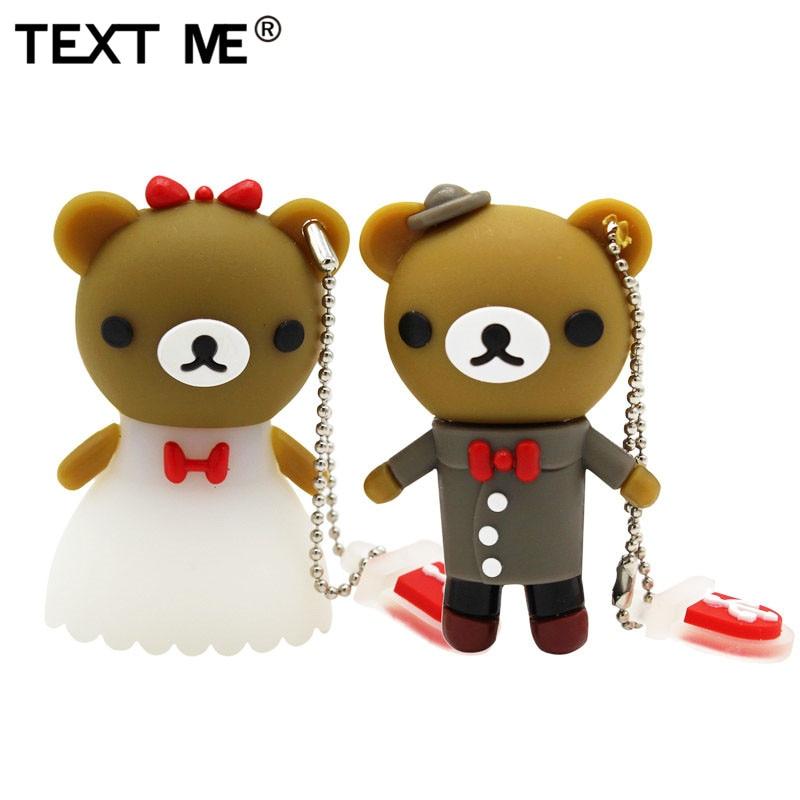 TEXT ME Cartoon Usb 2.0 Beautiful Bride And Groom Wedding Bear Usb Flash Drive  4GB 8GB 16GB 32GB 64GB Wdeeing Gift