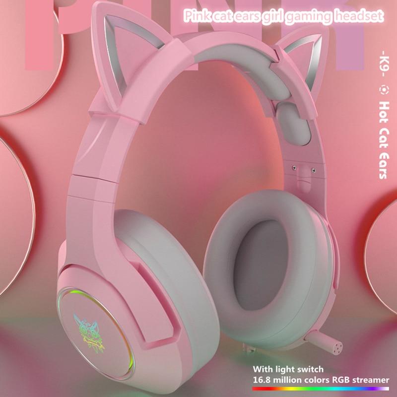 Новый продукт K9 розовые кошачьи уши милая девушка игровая гарнитура с микрофоном ENC шумоподавление HiFi 7,1 каналов RGB проводные наушники