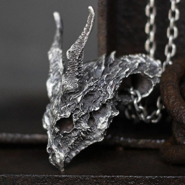 Badass evil dragon skull pendant