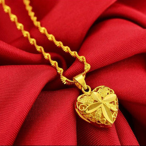 Love Heart Shape 24k Yellow Gold Pendant Necklace For Women Elegant Gold Jewelry Necklace Neck Chain Birthday Luxury Gifts