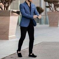 Latest Design Casual Navy Blue Suits Men 2019 Business Blazer Black Pants trajes de hombre Costume Homme Slim Terno Masculino