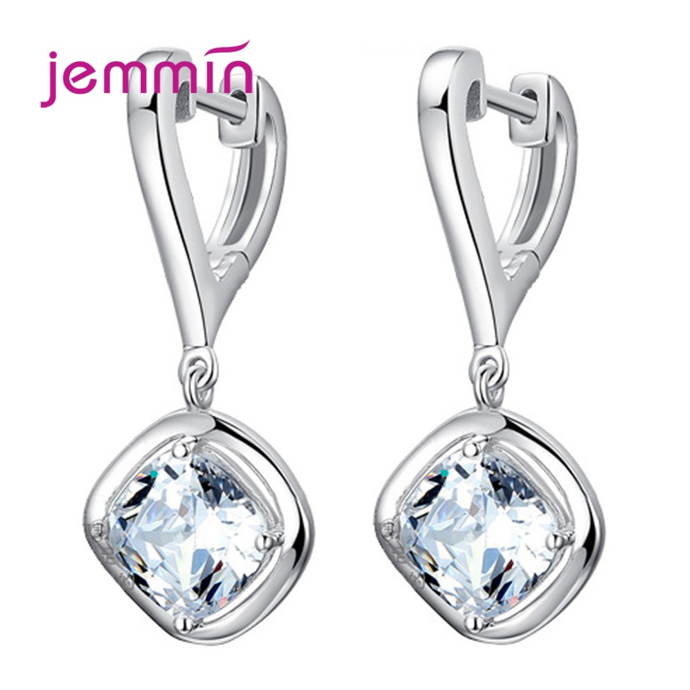 Top Quality Shinning Crystal Dangle Drop Earrings For Women 925 Sterling Silver Square Pendant Earrings Wedding Party Gifts