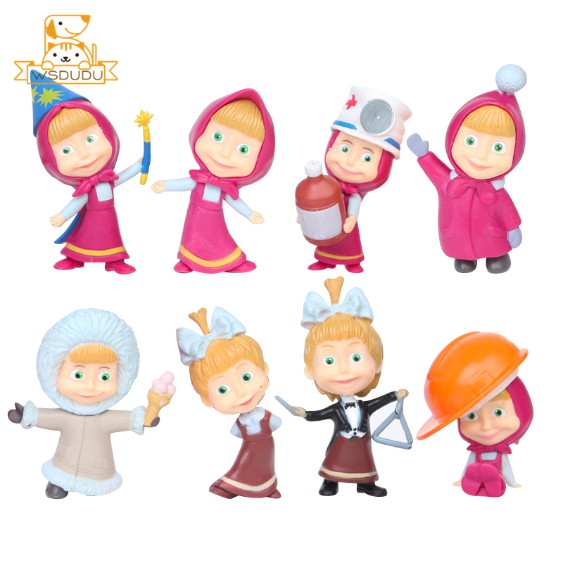 Cute Masha Anime Action Figures <font><b>Toys</b></font> Princess Girls Cartoon Figurines Sister Russian Dolls For Collectible Baby Model Decor Gift image