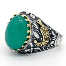 925 sterling silver green agate men's and women's rings spinel Turkish handmade jewelry rings(China)