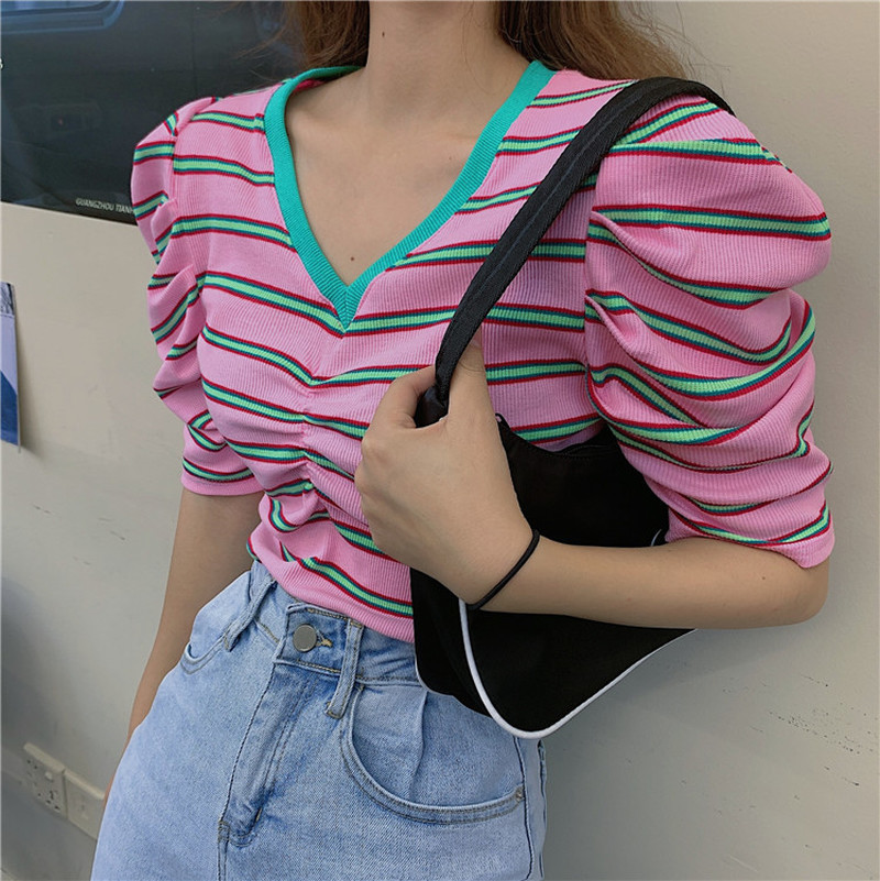 2020 Summer Vintage Design Women Tops Sweaters Pullovers Puff Sleeve Contrast Striped Sweet Girls Shirts V-Neck Comfort Clothing