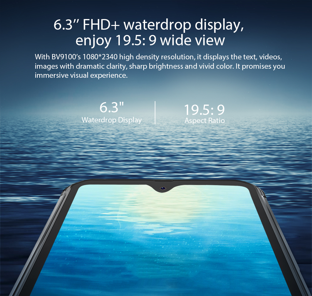 Blackview BV9100 6.3'' FHD+ 13000mAh IP68 Rugged Smartphone 4GB 64GB Helio P35 Octa Core Android9.0 Mobile Phone 30W Fast Charge