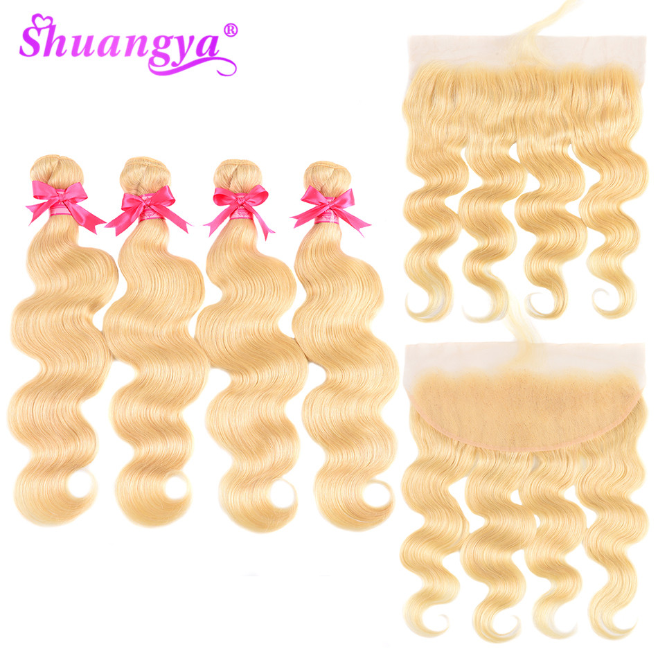 Shuangya Peruvian Body Wave Bundles With Frontal Human Hair 613 Blonde Bundles With Frontal Closure Remy Frontal With Bundles