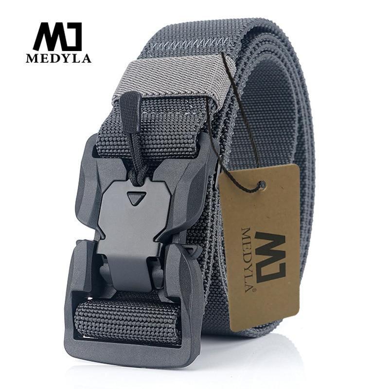 MEDYA NEW Military Equipment Combat Tactical Belts For Men US Army Training Elastic Nylon Belt