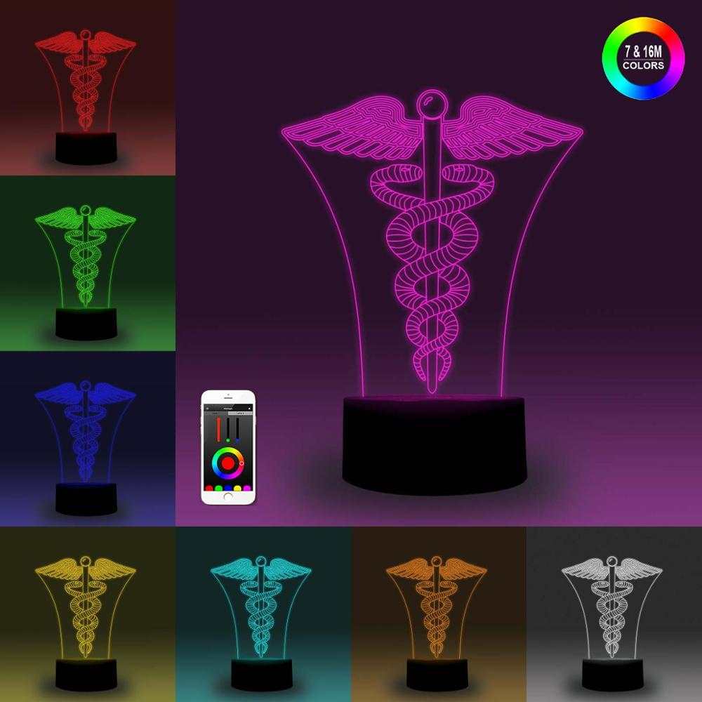 NiteApps 3D Caduceus Night Light Desk Table Illusion Decoration Lamp Holiday Birthday Gift APP/Touch Control