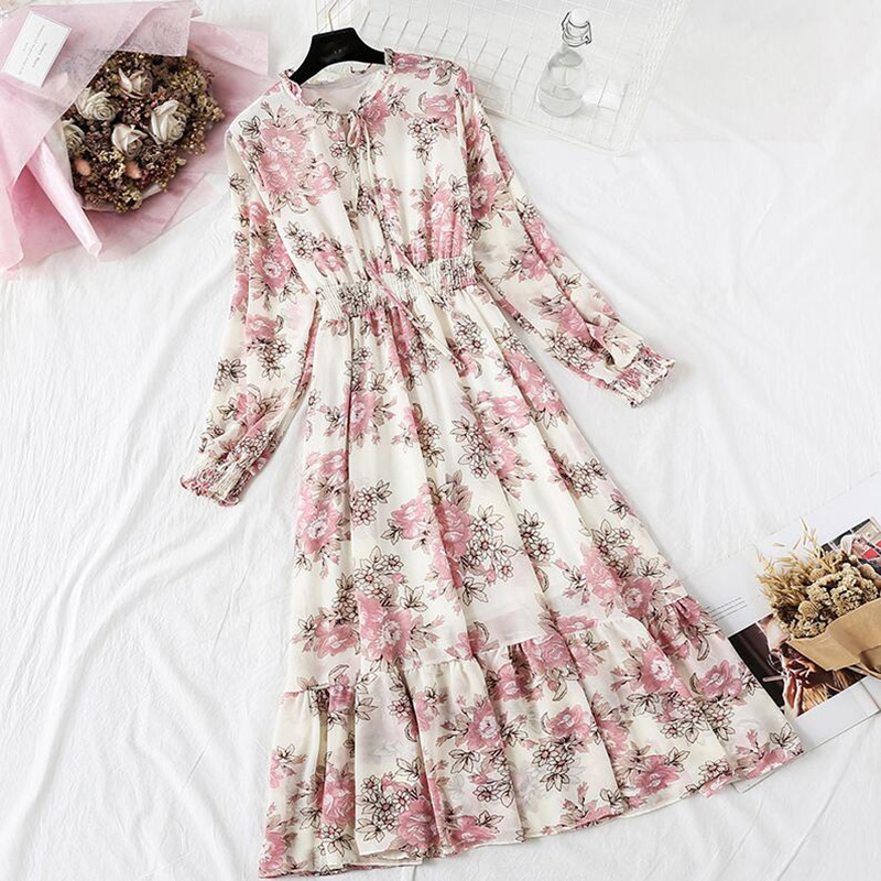 Autumn Women Dresses Vintage Floral Print Ruffles Flare Sleeve Chiffon Midi Dress Female Casual Party Long Sleeve Dress Vestidos