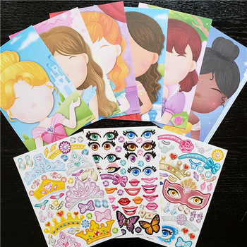 9pcs/set Stickers DIY Cute Stickers Children Puzzle Games Make-a-Face Princess Animal Dinosaur Assemble Toys for Girls Training 1