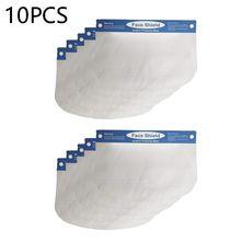 10 Pcs בטיחות מגן פנים נוזל עמיד מלא פנים מסכת שקוף להגן על העיניים ופנים עם מגן סרט גומייה