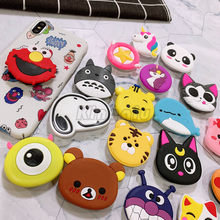 wholesale Cartoon Universal Socket Mobile phone Finger Rings holder for all phone Expanding phone Stand Finger car phone Holder(China)