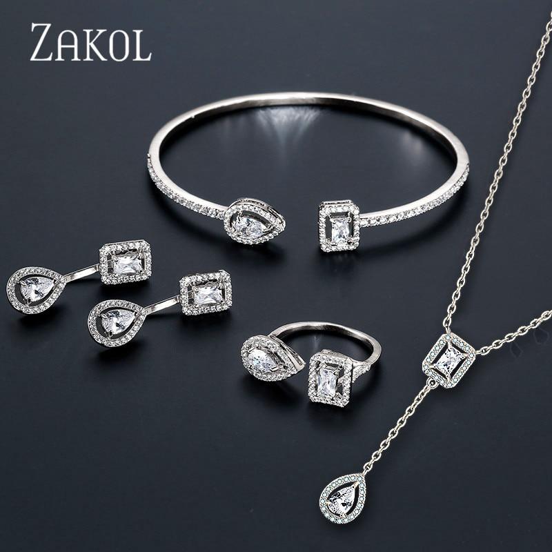 ZAKOL Bangle-Ring Bracelet Jewelry-Set Engagement Sparking Women Fashion-Design Brand