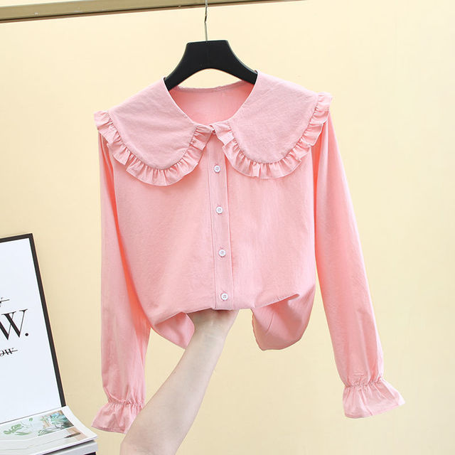 2020 New Butterfly Hollow Out Peter Pan Collar White Long Sleeve Shirt Blouse Sweet Chiffon Solid Korean Fashion Clothing K147 5