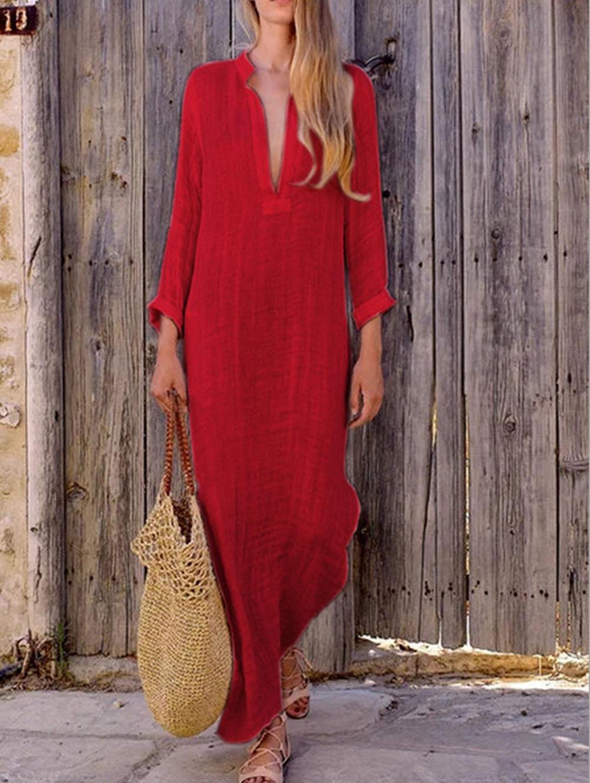 Women Gypsy Dresses Robe Long Sleeve V-neck Ethnic Boho Cotton Linen Summer Beach Maxi Dress 3