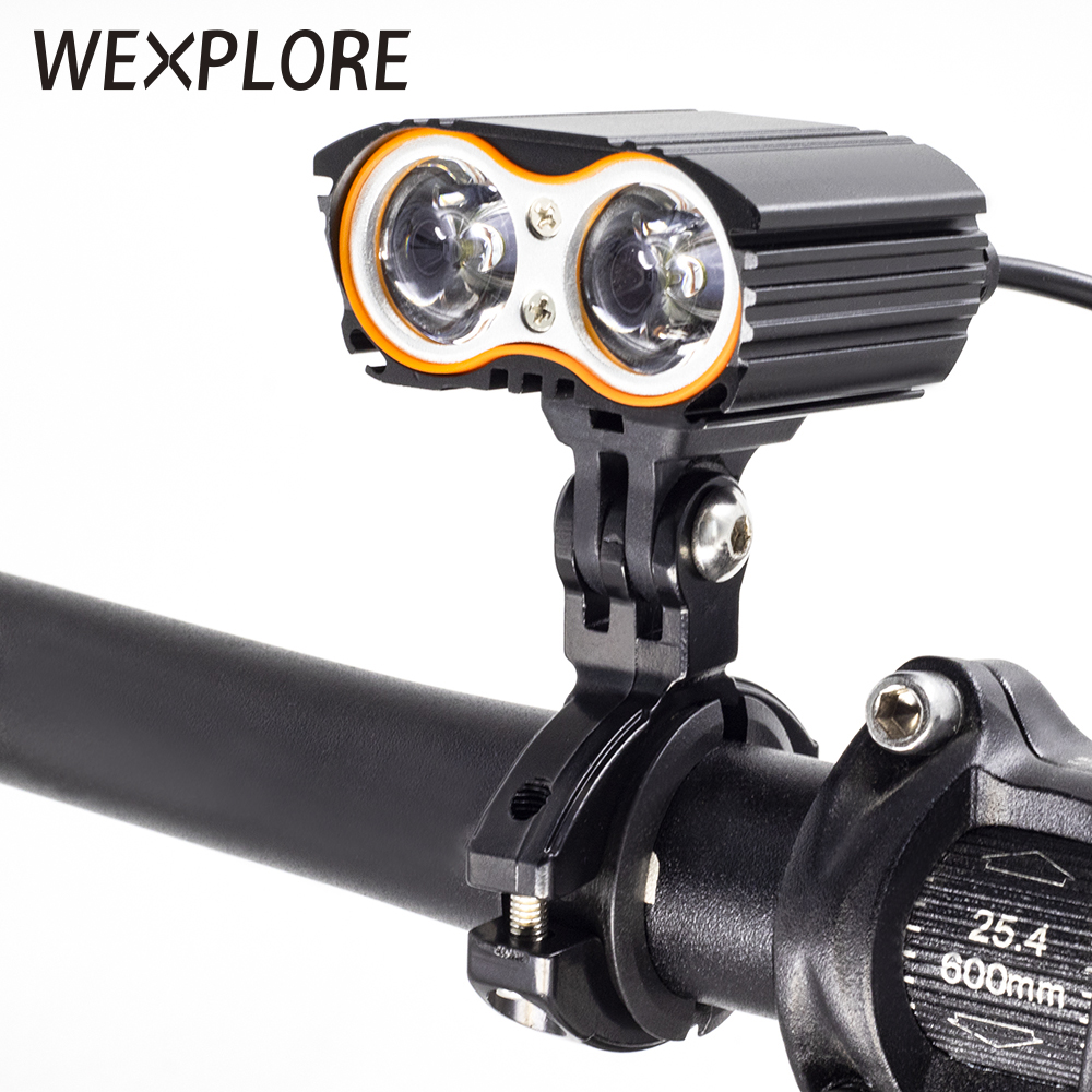 WEXPLORE Electric Bike Scooter Light T6 LED Ebike Headlight Input 12V 24V 36V 48V E Bicycle Scooter Light Cycling Accessories