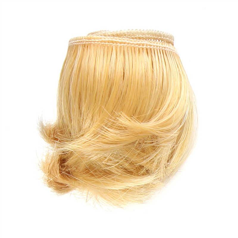 Peluca de muñeca flequillo de pelo corto para juguete de bebé y cabello ondulado BJD SD corto 5cm * 100cm Accesorios para el cabello de moda bob
