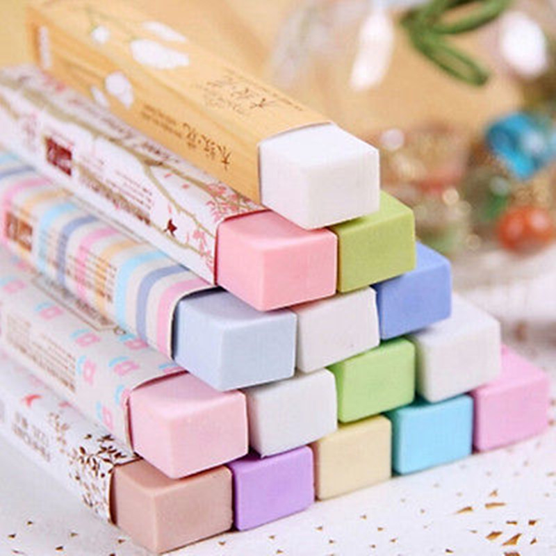 1 Pcs Kawaii Eraser Candy Color Rubber Eraser Cartoon Cube Eraser Student Writing Drawing Stationery
