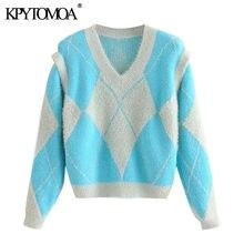 KPYTOMOA-suéter de punto suelto con estampado Argyle para mujer, suéter de punto Vintage con mangas desmontables y cuello de pico, Tops Chic para mujer 2021